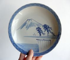Japanese vintage porcelain dish sansui-ga by WhatsForPudding