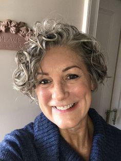 Curly Silvers Short Permed Hair, Grey Curly Hair, Short Curls, Silver Grey Hair, Short Grey Hair, Short Hair Cuts, Gray Hair, Grey Hair Styles For Women, Medium Hair Styles