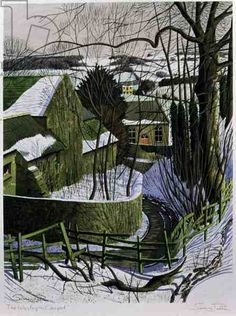 """The Wesleyan Chapel"" by Simon Palmer, 1997 Watercolor Landscape, Landscape Art, Landscape Paintings, Nature Paintings, Landscapes, Painting Snow, Painting & Drawing, History Images, Snow Scenes"
