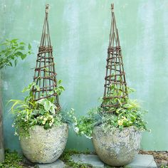 With a classic, stately shape, this natural willow garden structure is a decorative and practical support for climbing plants.-/Concrete pots
