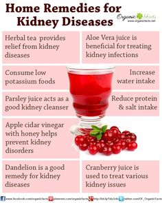 Home remedies for kidney disease include reducing amount of salt in your diet, eating less potassium, lowering amount of protein intake, as well as dandelion, parsley juice, aloe vera juice, cranberry juice, apple cider vinegar, herbal tea, buchu and barberry.
