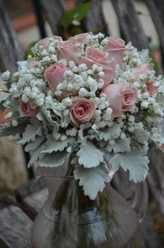 Bridal bouquet dusky pink roses ,babies breath,dusty miller and crystals from Melissa's mums bouquet