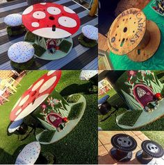 Repurpose wooden spools and cable reels for play! Create budget friendly & playful indoor/outdoor resources by upcycling and repurposing wooden spools and cable reels. Clever ideas to inspire early childhood teachers and parents. Wire Spool Tables, Cable Spool Tables, Wooden Spool Projects, Wooden Spools, Eyfs Outdoor Area, Indoor Outdoor, Outdoor Play, Outdoor Learning, Outdoor Areas