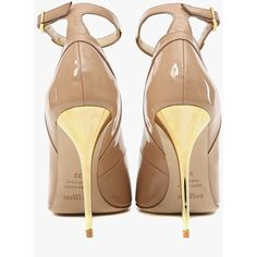 Balmain Lilea patent-leather pumps ($1,045) ❤ liked on Polyvore featuring shoes, pumps, heels, balmain, ankle strap high heel pumps, balmain shoes, beige patent leather pumps, buckle shoes and patent leather shoes
