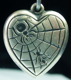 Vintage spider and web puffy heart ~ From the estate of Joan Munkacsi