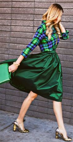 This gorgeous emerald skirt and plaid blouse makes for a head turning holiday look! #holiday #fashion