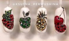 """Visit our site for additional info on """"acrylic nail art designs summer"""". It is actually a great area to read more. Swarovski Nails, Rhinestone Nails, Fruit Nail Designs, Nail Art Designs, Pineapple Nails, Cherry Nails, Les Nails, Nailart, Flower Nail Art"""