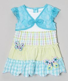 Another great find on #zulily! Turquoise Gingham Patchwork Dress - Infant, Toddler & Girls #zulilyfinds