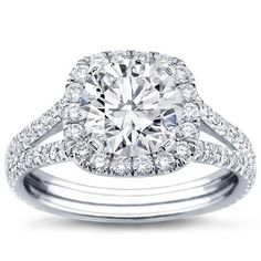 Split Shank Halo Setting for Cushion Cut Diamond with GIA Certified K VVS2 Excellent Cut Round Diamond center diamond