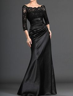 Black Evening Dress,Black Satin Lace Formal  Dress,Mermaid Evening Dress on Etsy, $265.42 CAD