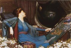 """I Am Half-Sick of Shadows,"" Said the Lady of Shalott by Sidney Harold Meteyard, 1913 John William Waterhouse, 1915 The Lady Of Shalott, Christina Rossetti, Thing 1, Poster Prints, Art Prints, Art Sites, Pre Raphaelite, Beautiful Artwork, Beautiful Images"