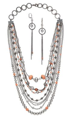 Multi-Strand Necklace and Earring Set with SWAROVSKI ELEMENTS, Gunmetal-Plated Steel Components and Gunmetal Chain