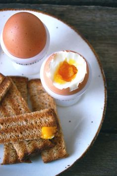 soft egg with toast soldiers - http://bkfst.tumblr.com/post/8778548102/via-butterflyfood-some-of-the-best-things-are