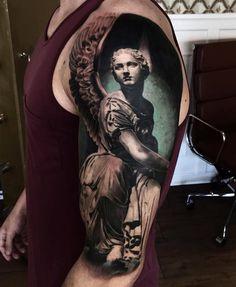 Angel sleeve by Mark Wosgerau.  http://tattooideas247.com/angel-sleeve/