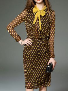 Dot Print Midi Dress with Scarf