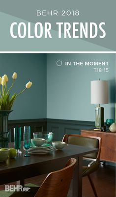 Add a modern twist to your formal dining room with a little help from the BEHR 2018 Color Trends. The blue, green, and gray undertones of In The Moment pop when paired with a darker shade of green on the board and batten paneling. Try contrasting this coo Interior Paint Colors, Paint Colors For Home, Room Colors, House Colors, Color Trends 2018, 2018 Color, Behr Colors, Colours, Deco Design