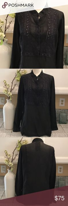 Johnny Was Tunic Top Beautiful Embroidered Tunic/Top. In a bit sheer black material with unique embroidery in top front. Like new in excellent condition. Johnny Was Tops