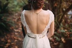 Delicate back necklace for a low-back wedding gown | Roland Hale Photography