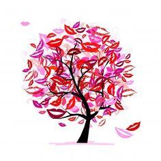 Tree of kisses with lips and smiles! Vector Kunst, Lippen, Illustraties, Creatief, Liefde, Kusjes, Afdrukbaarheden, Grappen, Blauwe Bloemen