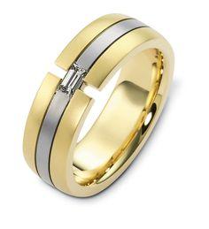 This Dora Theodora two-tone band features an emerald cut diamond. #mens #weddingband #JohannesHunter