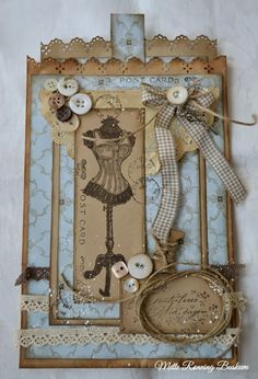 Mette`s Card World: Paper Bag Card Vintage Tags, Vintage Sewing, Sewing Cards, Shabby Chic Cards, Dress Card, Artist Trading Cards, Card Tags, Homemade Cards, Cardmaking
