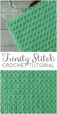 Trinity Crochet Stitch Tutorial The Unraveled Mitten Easy Textured Crochet Stitch Great for baby blankets, scarves, hats, home decor baby stuff and more!The Trinity crochet stitch is made up of clusters of single crochets that start in the same stitch the Crochet Afghans, Crochet Stitches For Blankets, Crochet Baby Blanket Beginner, Crochet Stitches Patterns, Stitch Patterns, Afghan Patterns, Tunisian Crochet Blanket, Beginner Crochet Stitches, Wash Cloth Crochet Pattern
