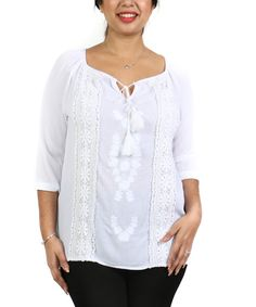 White Crochet Peasant Top - Plus