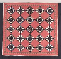 Q8287 Ohio Star with Sawtooth Border   c.1860   72 x 74 (182.9 x 188 cm)  Schenectady, NY