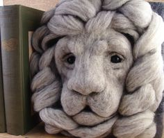 Needle Felted Lion Gargoyle Soft Sculpture by by McBrideHouse