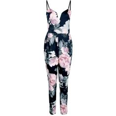 Boohoo Kitty Floral Deep Plunge Jumpsuit (1.325 UYU) ❤ liked on Polyvore featuring jumpsuits, dresses, romper, jumper, one piece, romper jumpsuit, wide leg jumpsuit, cocktail party jumpsuit, floral wide leg jumpsuit and special occasion jumpsuits