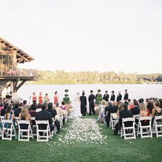 Sunset outdoor ceremony // Virgil Bunao Photography // Event Planning: Caroline Carter Events // http://www.theknot.com/weddings/album/a-nautical-cheer-wedding-in-st-simons-island-133531