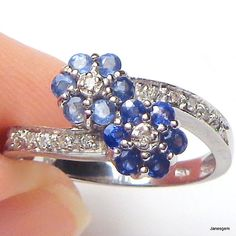 10K White Gold .60 CT Light and Dark Blue Sapphire Diamond