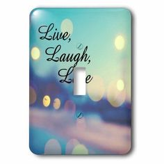 3dRose Live, Laugh, Love expression, blue, purple, pink, and gold lights, Double Toggle Switch