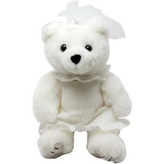 """Our soft 8"""" Bride Bear is a perfect item for wedding planners agencies and bridal shows. Wedding gown and tiara shown are sized to fit most 6""""-9"""" bears. This stuffed animal is from our Premium line of plush toys. This product complies with all U.S. Consumer Product Safety Improvement Act (CPSIA) product safety requirements. Safe for children of all ages."""