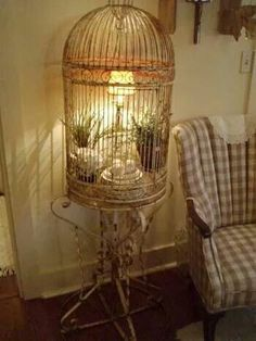 I never thot of putting a lamp INSIDE a cage.a better way to light up a room than using a string of Christmas lights inside the cage. Small Lamps, Lampshades, Shabby Chic Decor, Shabby Chic Lighting, Bird Houses, Repurposed, Diy Home Decor, Decor Crafts, Room Decor