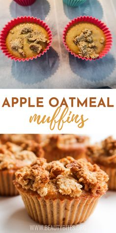 These healthy apple oatmeal muffins are super easy to make and a very delicious healthy breakfast idea! These healthy breakfast muffins are a great meal prep recipe or healthy snack when you crave something sweet! Clean Eating Recipes For Weight Loss, Clean Eating Recipes For Dinner, Clean Eating Vegetarian, Healthy Eating, Apple Oatmeal Muffins, Easy Family Meals, Family Recipes, Healthy Breakfast Muffins, Yummy Healthy Snacks