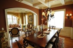 two-toned tuscan inspired dining room