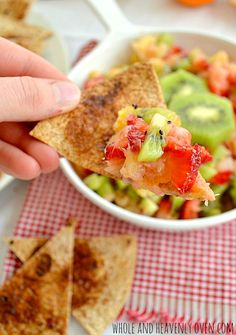 This Summer Fruit Salsa is good with cinnamon or traditional tortilla chips! Recipes Appetizers And Snacks, Fruit Recipes, Cooking Recipes, Desserts, Cinnamon Tortilla Chips, Cinnamon Chips, Fruit Salsa, Fruit Fruit, Vegetarian Cookbook