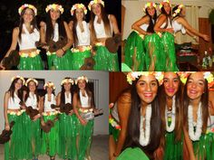 Disfraz de hawaianas                                                                                                                                                     Más Luau Outfits, Hawaii Outfits, Night Outfits, Cute Costumes, Halloween Costumes, Hawaiian Costume, Luau Party Decorations, Homecoming Week, Egyptian Costume