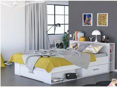 Lit LEONIS avec rangements - 140x190cm - Blanc