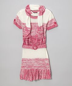 Take a look at this Pink Heather Belted Sweater Dress & Scarf - Toddler & Girls on zulily today!