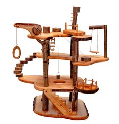 Magic Wood Tree House, in Parts Retractable Stairs, Woodland Lodges, Fairy Tree Houses, Diy Cat Tree, Cat Playground, Natural Toys, Cat Room, Wood Tree, Toy Craft