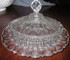 "EAPG 1870 O'Hara Glass Co Ltd  ""ARROWHEAD""  Lidded Dome Butter Dish   pattern #82, approx. 3.5""H x 7""D"