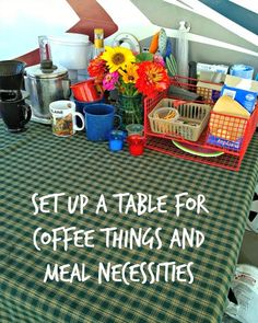 folding table set up for coffee and food stuff outside of rv
