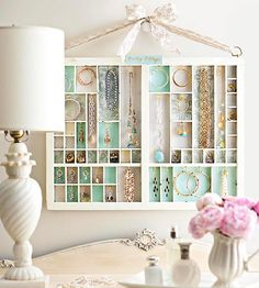 Hang a Jewelry Case using vintage printer's tray!