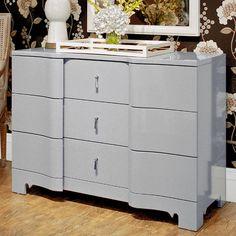 Brigitte Three-Drawer Dresser in Gray