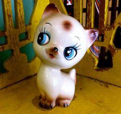 Vintage 50s Porcelain Kitten Figurine