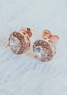 Rose Gold Bridal Jewelry - Rose Gold Bridal Earrings