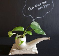 Concrete pot pipe planter inspired by artwork