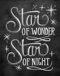 Star of Wonder Christmas Chalkboard Art Print
